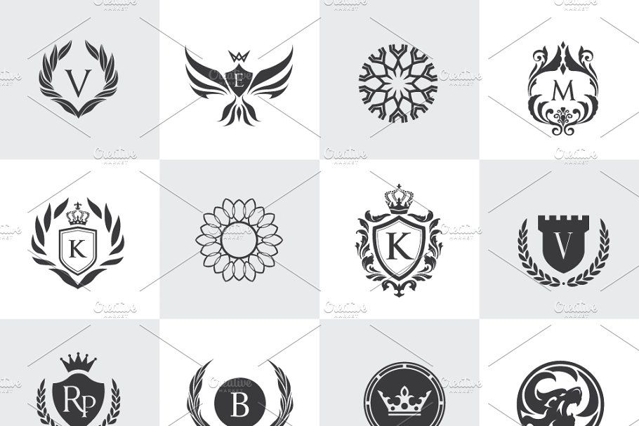32 Luxury Logo Set Ii Psd Luxury Logo Logo Set Photoshop Shapes