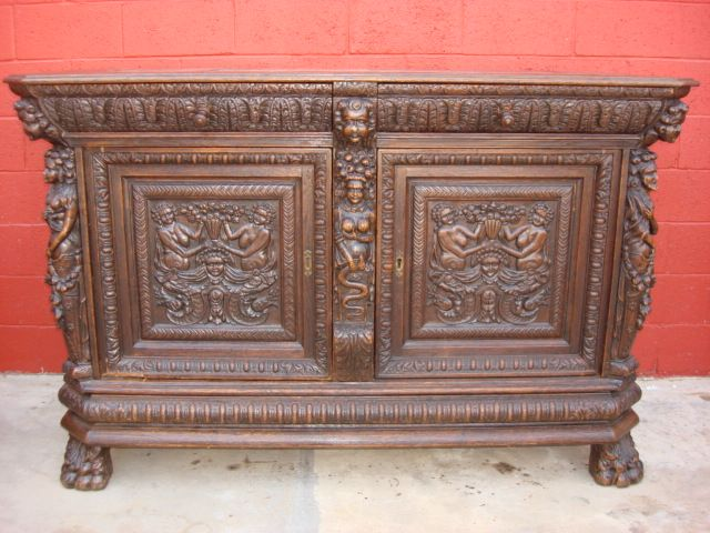 Antique Furniture French Antique Carved Sideboard Server Antique Cabinet  Cupboard - Antique Furniture French Antique Carved Sideboard Server Antique