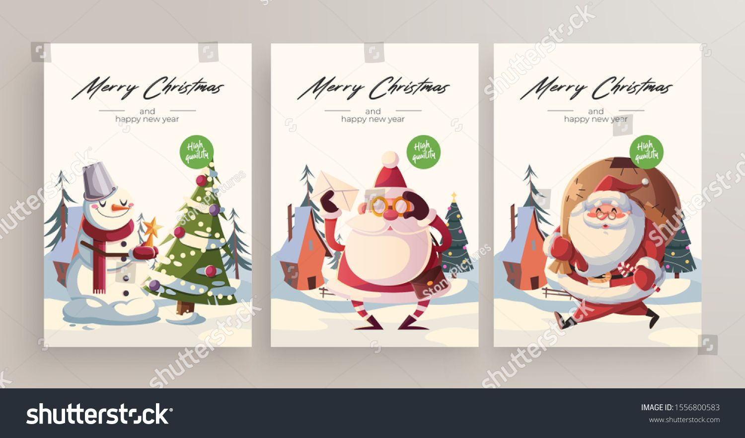 New Year 2020 And Christmas Greeting Card collection. Cute ...