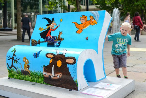 book themed benches placed in locations about London, England organized by the National Literacy Trust featured   by Publisher's Weekly