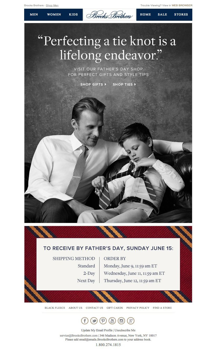 #newsletter Brooks Brothers 05.2014 Visit our Father's Day Gift Shop