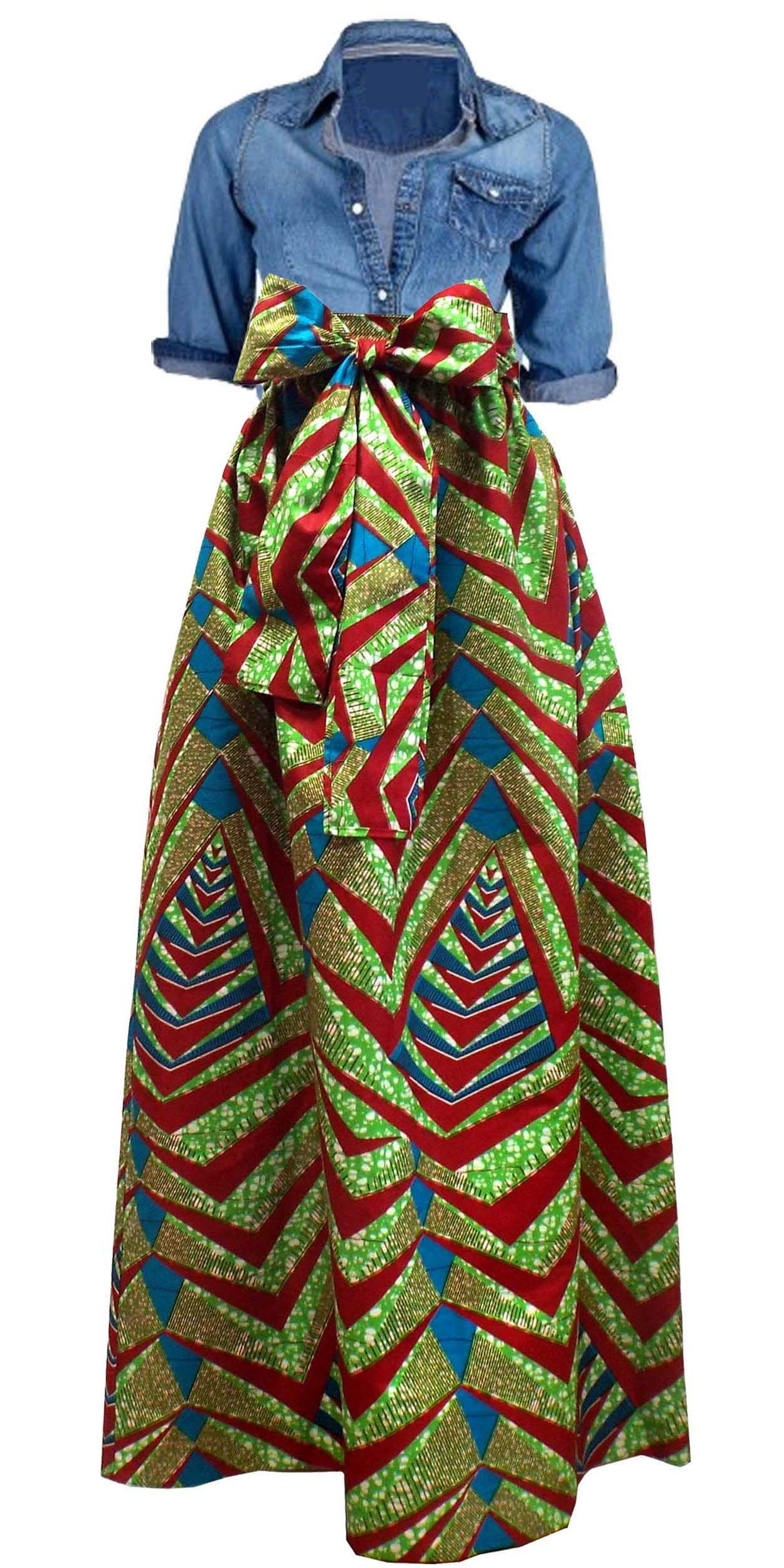 5fbed515f0 African Print Maxi skirt with pockets and sash paired with jean top ~African  fashion, Ankara, kitenge, African women dresses, African prints, African  men's ...