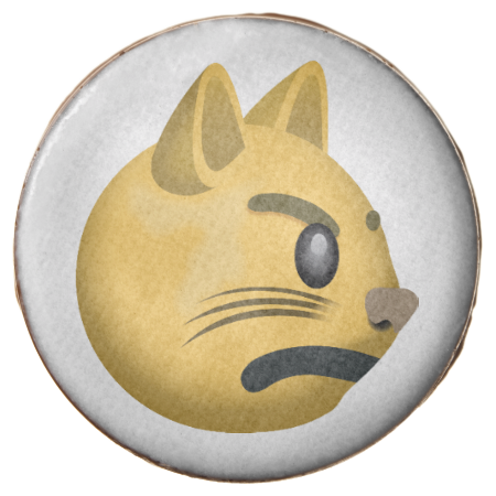 Pouting Cat Face Emoji Chocolate Covered Oreo Cat face