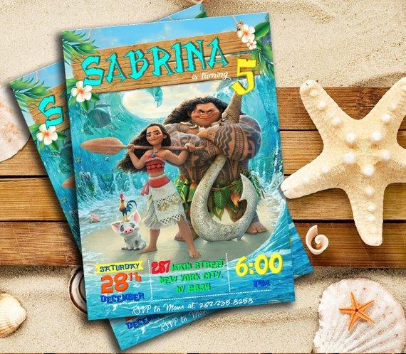Moana Invitation Party Birthday Disney Printables Cust