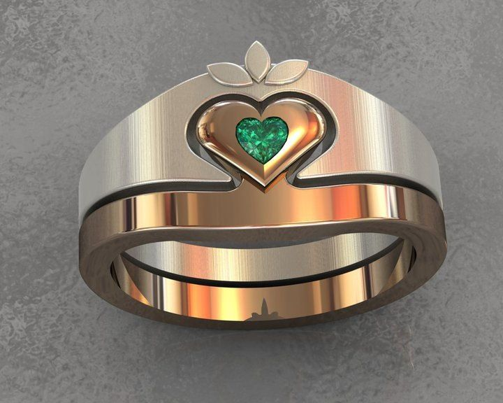 the a interlocking being bands ring gold claddagh stone heart pin