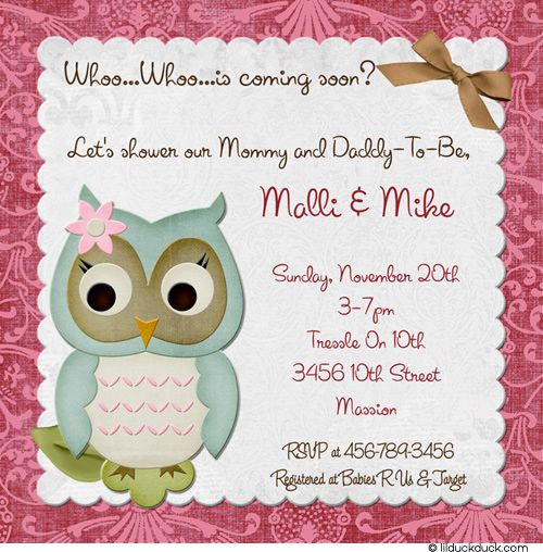 Owl couples baby shower invitation pink damask personalized coed baby shower invitation wording here baby owl shower invitation give your baby shower special details filmwisefo