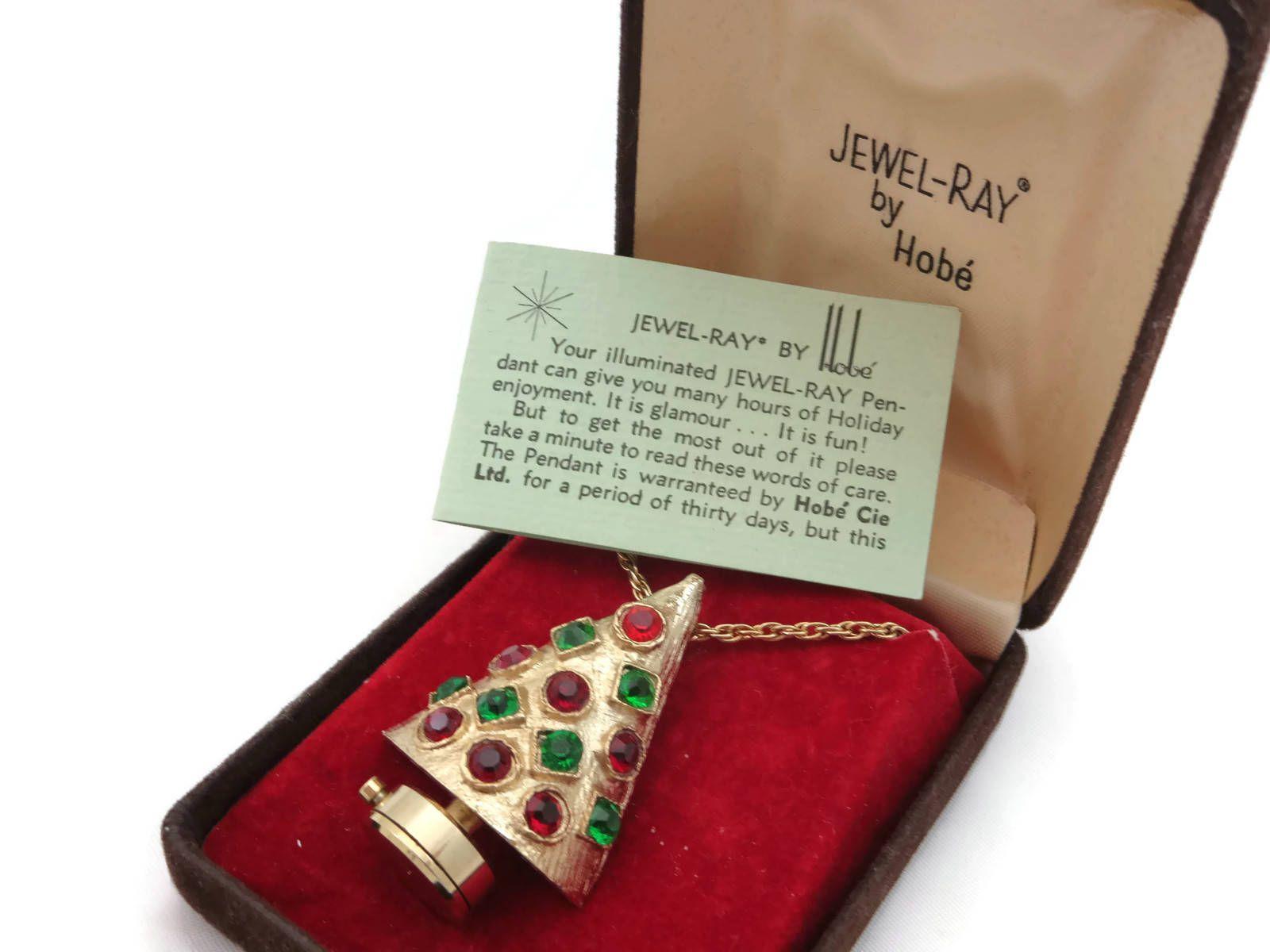 Christmas Tree Necklace Pendant - Hobe Jewelry Red Green Rhinestones ...