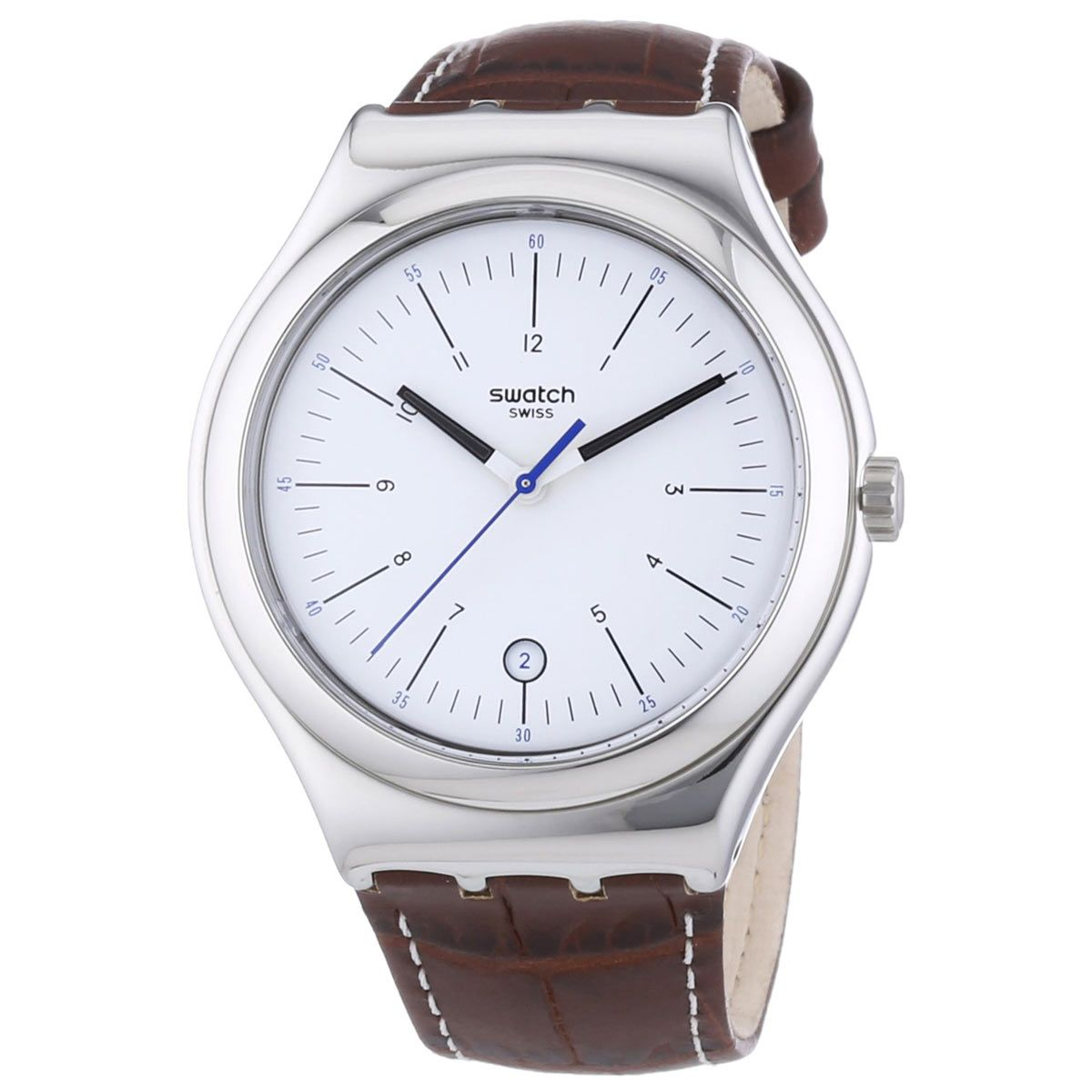 swatch yws401 gent s silver dial brown leather strap swiss watch swatch yws401 gent s silver dial brown leather strap swiss watch swatch swatchyws401