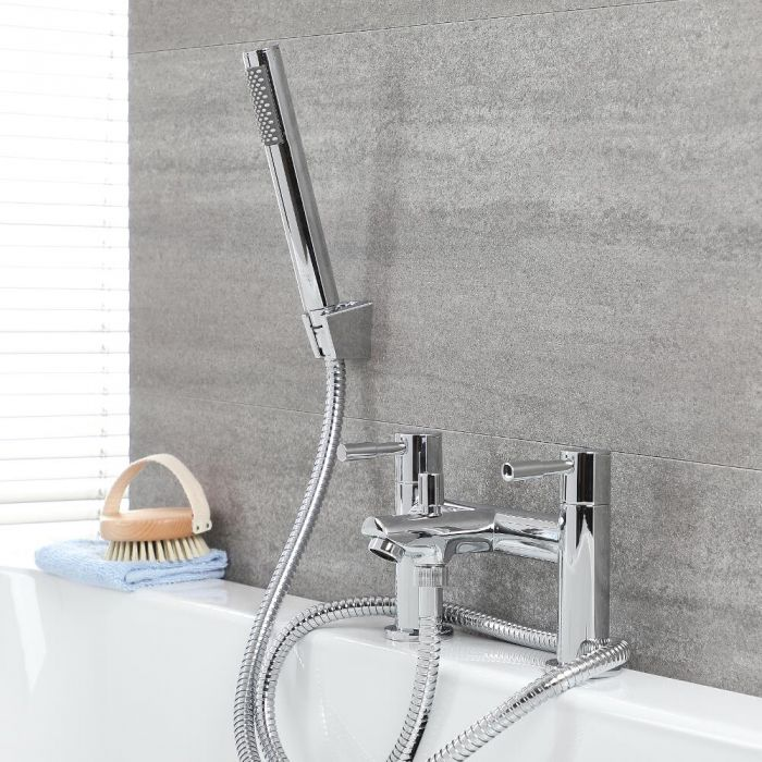 Milano Mirage Modern Deck Mounted Bath Shower Mixer Tap With Hand Shower Chrome Bath Shower Mixer Bath Shower Mixer Taps Shower Mixer Taps