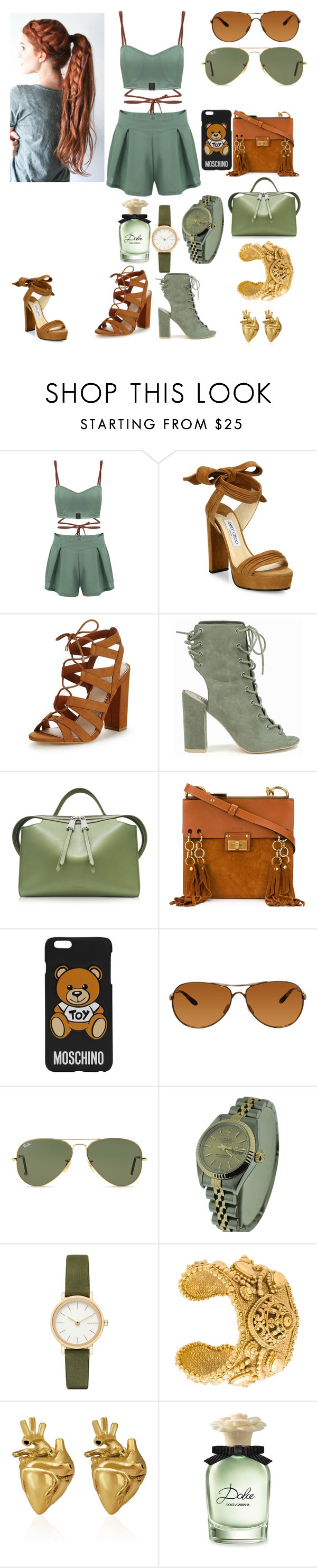 """""""Young fashion # 168"""" by demacracy ❤ liked on Polyvore featuring Jimmy Choo, Lipsy, Nly Shoes, Jil Sander, Chloé, Moschino, Oakley, Ray-Ban, Rolex and Skagen"""