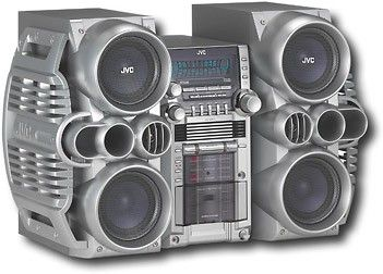 jvc 520w mini hi fi system with 5 cd changer silver. Black Bedroom Furniture Sets. Home Design Ideas
