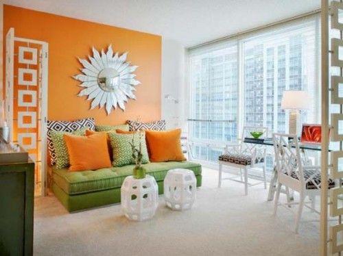 Surprising Orange Living Room With Green Sofa Kats Room Living Home Interior And Landscaping Ologienasavecom