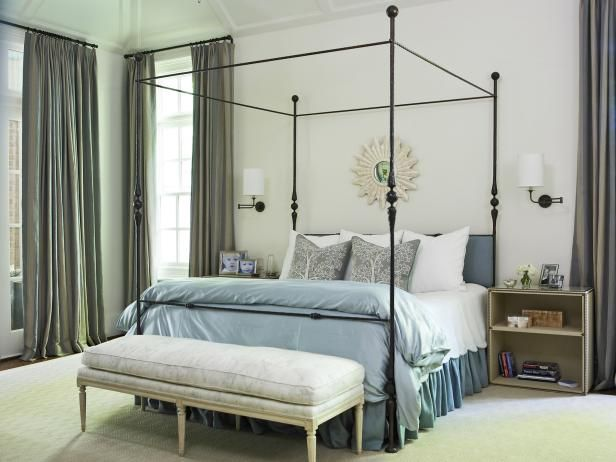 looking for bedroom decorating ideas see a transitional bedroom with a wrought iron canopy bed - Transitional Canopy Decorating