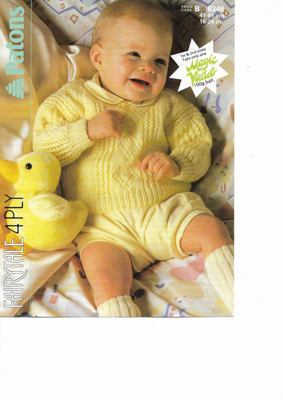 ca5cabb38494 Vintage Knitting Pattern Boys Vintage Jumper Sweater V Neck 16 - 24 ...