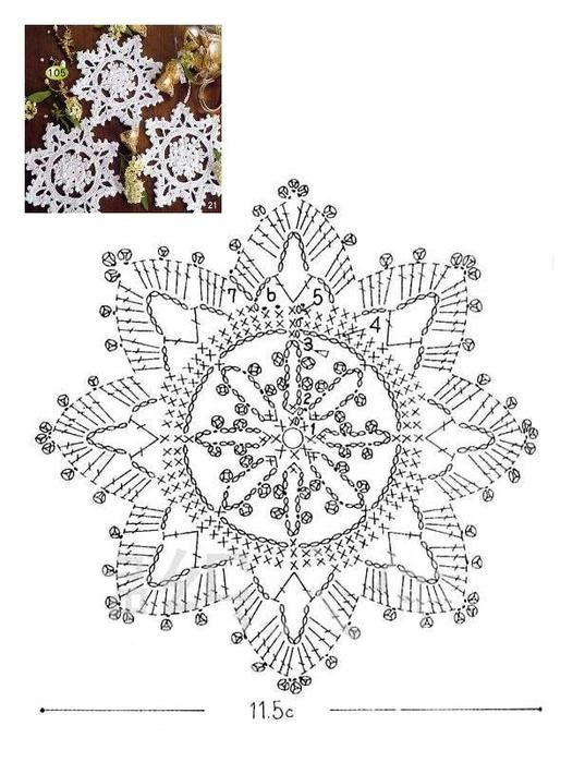 Solo esquemas y diseños de crochet: COPOS DE NIEVE … | Crochet.…