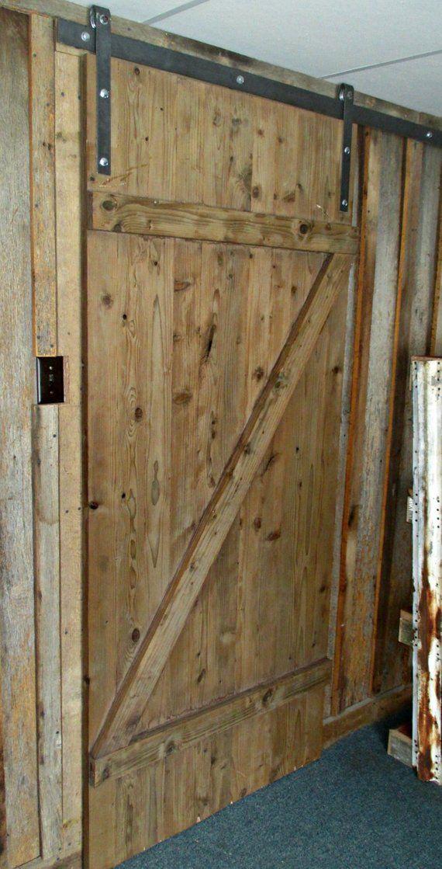 solid pine sliding barn door for rustic themed rooms on Brown Barn Door id=46715