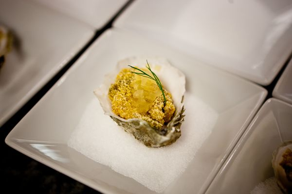 """Fried Oyster on the Half Shell with Pickled Watermelon Rind from the """"On the Bayou"""" charity dinner hosted by CIA bachelor's degree students."""