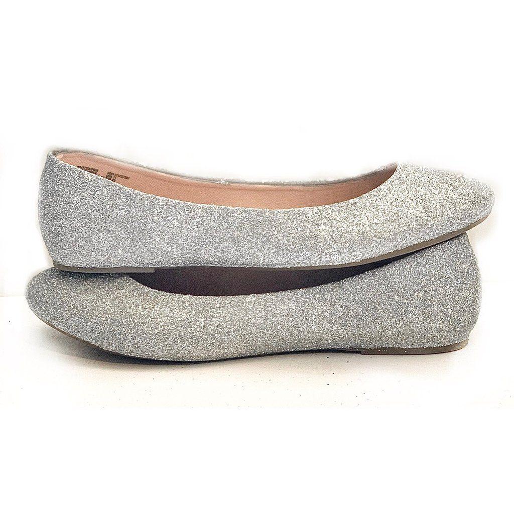 Women S Sparkly Silver Glitter Ballet Flats Wedding Bridal Shoes Glitter Ballet Flats Wedding Ballet Flats Silver Glitter Ballet Flats