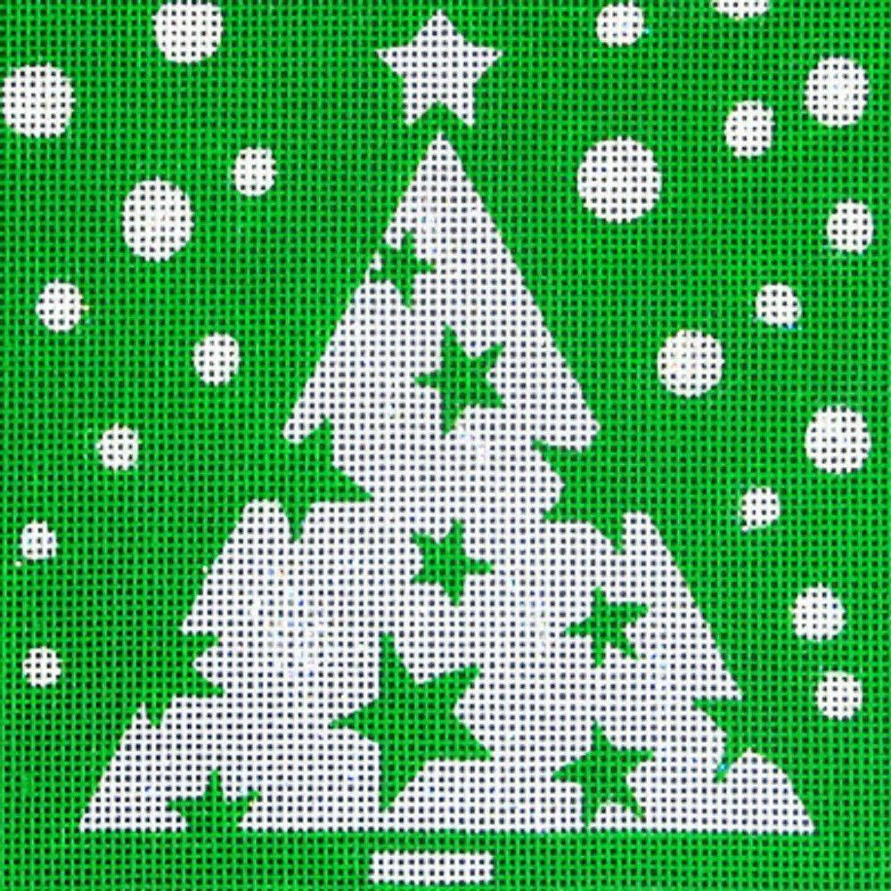 NEEDLEPOINT Handpainted Amanda Lawford CHRISTMAS Star Tree 5x5