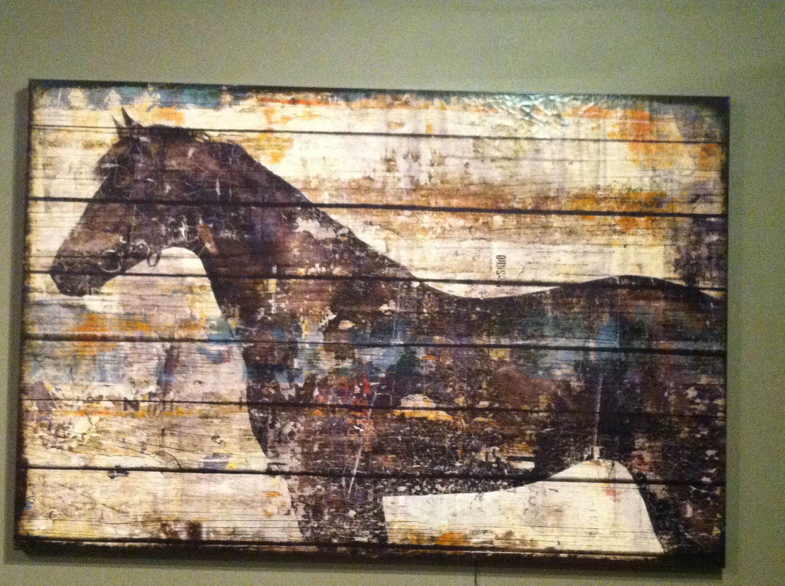 horse painting on old wood horse painting