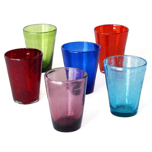Colored Seeded Glass Tumblers And Candleholders Tablewares Wisteria Casitas Vajilla