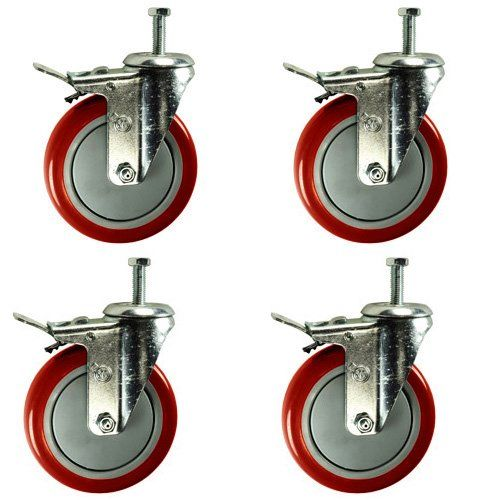 5 Inch Total Lock Caster Red Polyurethane Wheel 1 2 13 X 1 1 2 Threaded Stem Set Of 4 Amazon C Furniture Hardware Drawer Pulls Caster Furniture Hardware