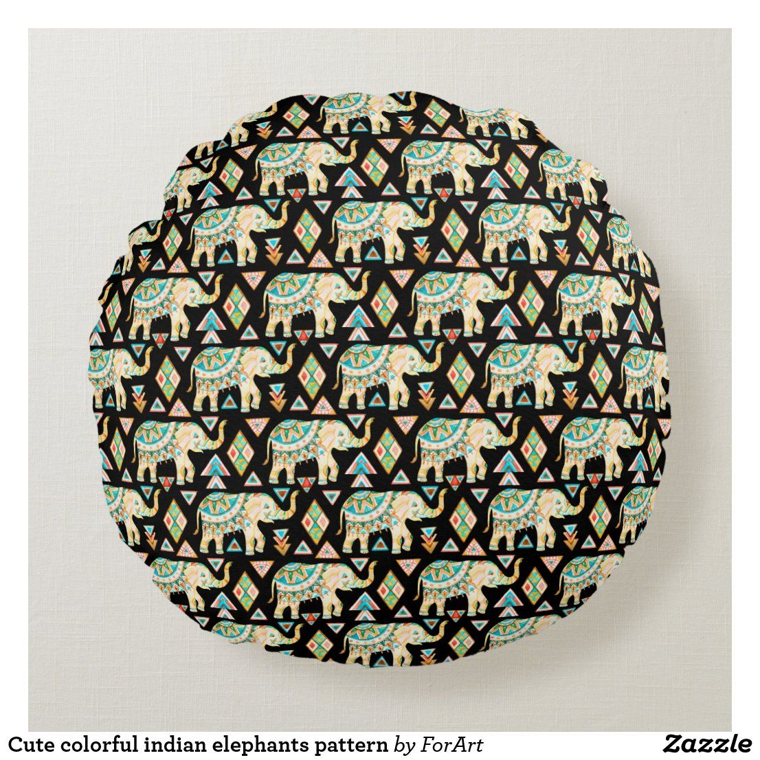 Cute colorful indian elephants pattern round pillow