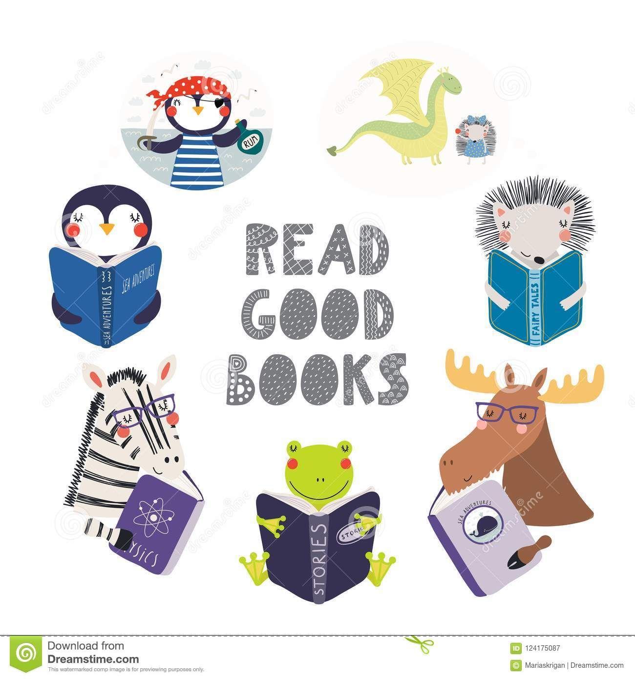Cute Animals Reading Books Set Stock Vector Illustration Of Clipart Imagination 124175087 Animal Book Cute Animals Cute Funny Animals