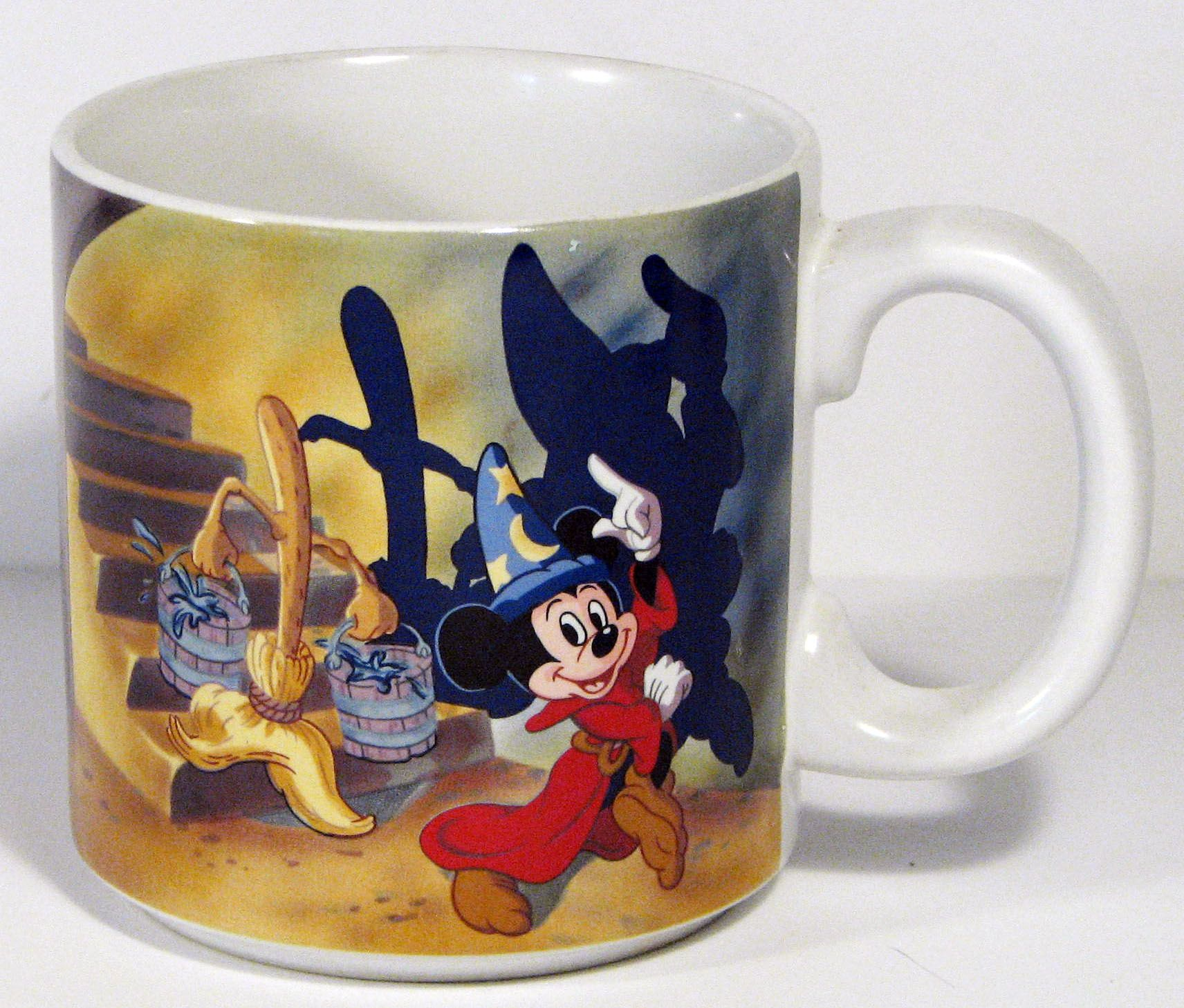 Made In Japan Released In 1990 Ceramic Features Sorcerer Mickey With Dancing Brooms Colors Are Bold With No Chipp Fantasia Disney Walt Disney Mickey Mouse