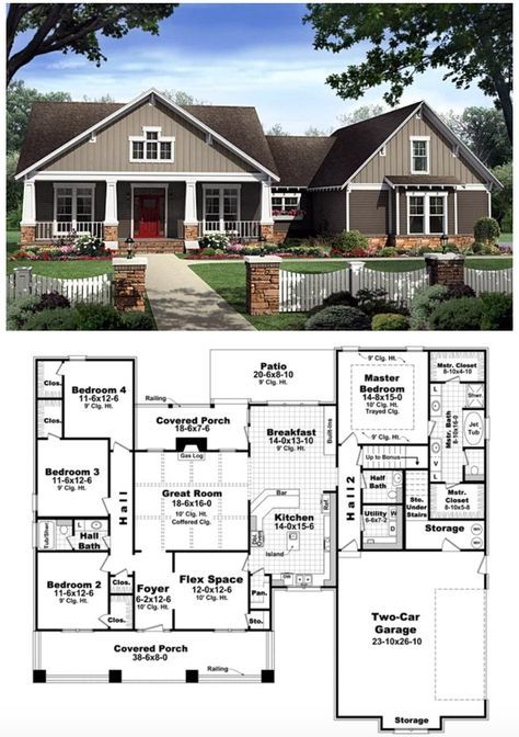 Craftsman Style House Plan 59198 With 4 Bed 3 Bath 2 Car Garage Bungalow Floor Plans Craftsman Style House Plans New House Plans