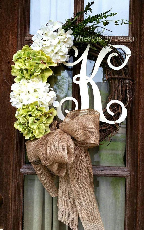 Burlap Monogram Wreath Burlap Wreath Door Wreath Monogram Wreath Initial Wreath Hydrangea Wreath Year Round Wreath Summer Wreath