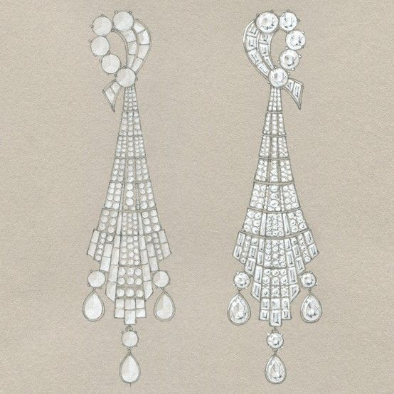 Elegant Earrings By Tiffany A Sketch For Art Deco