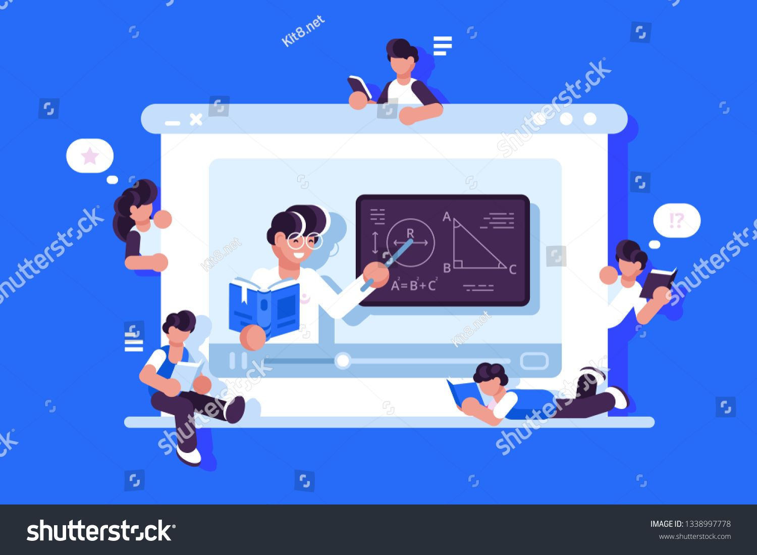 Online Education And Graduation Vector Illustration Online