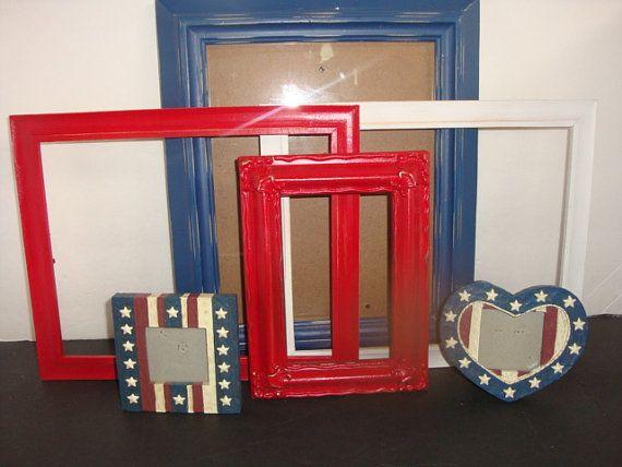 Patriotic Red White Blue Photo Set Lot Frames By Pureblisscottage