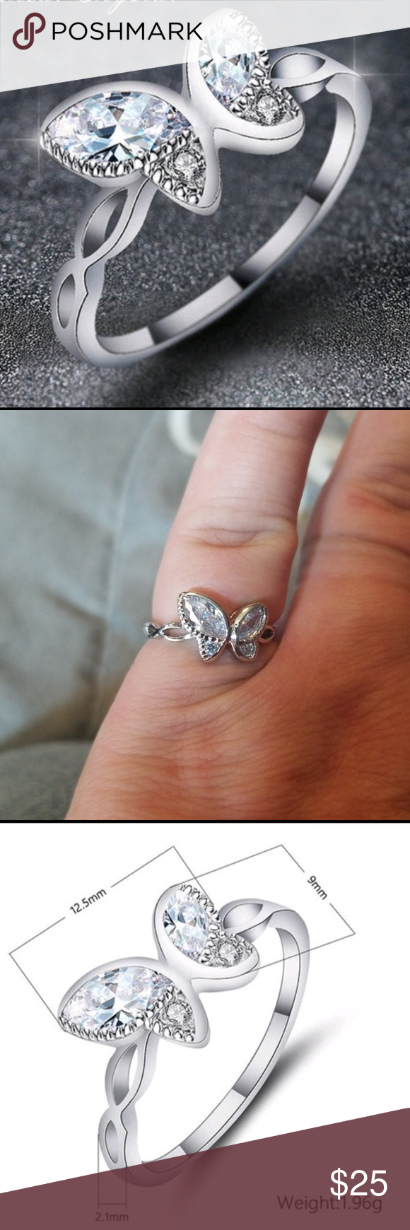 SALE New CZ butterfly ring size 6 Boutique (With images