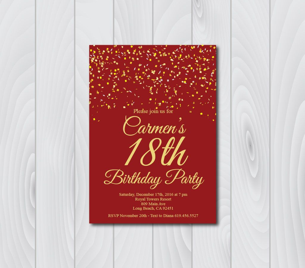 18th Birthday Invitation Printable Gold Red E Card Template Eighteenth By BlessedDayPaper