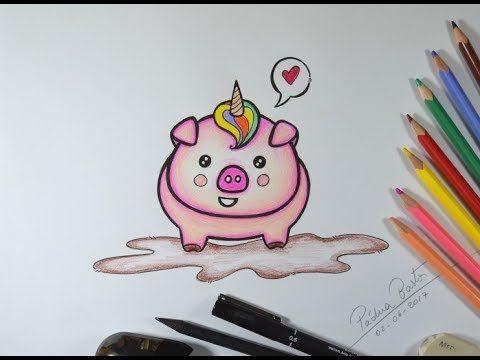 como desenhar porquinho kawai unicórnios pinterest