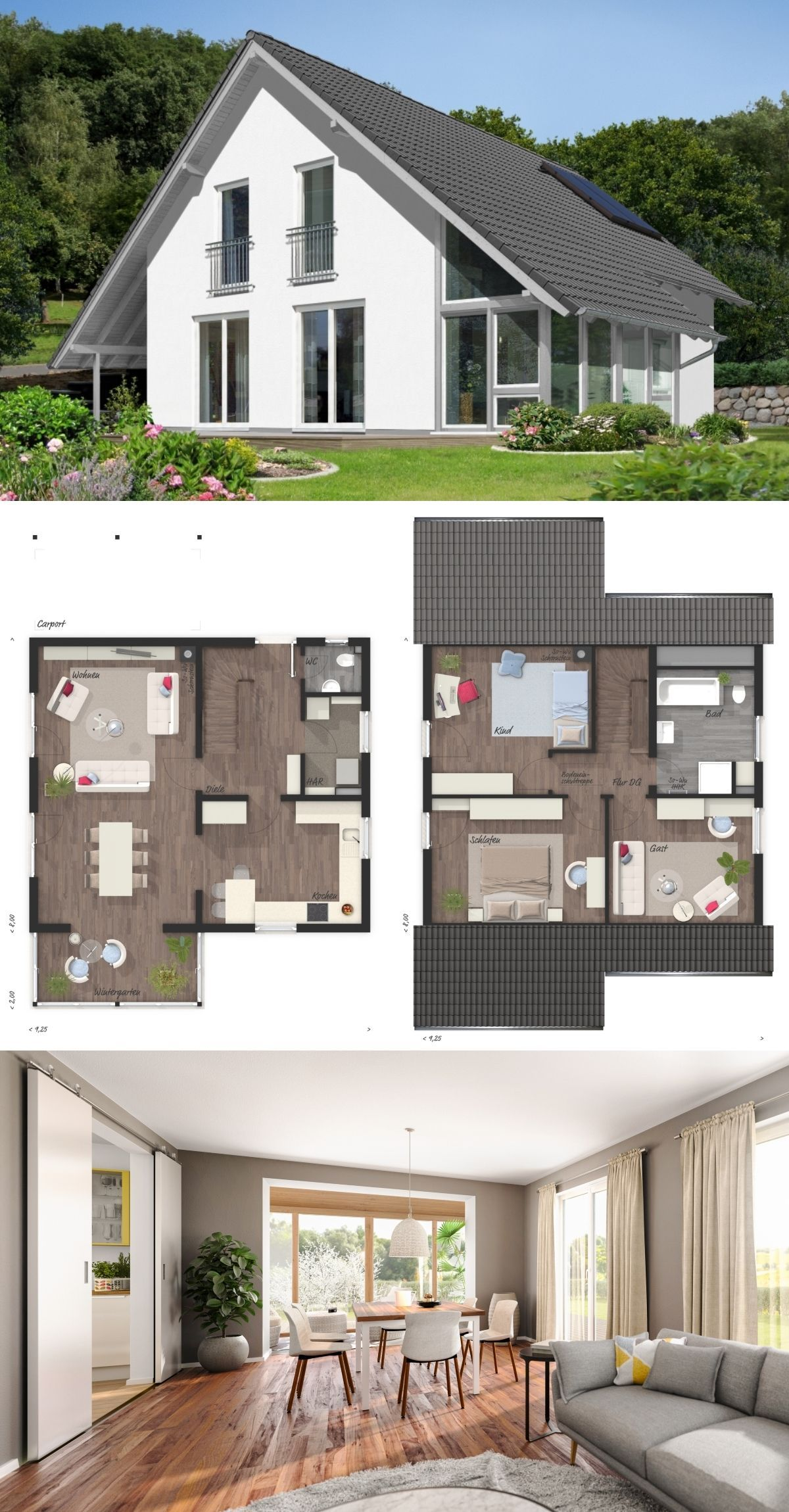 Modernes Haus Design Mit Wintergarten Anbau Satteldach Architektur