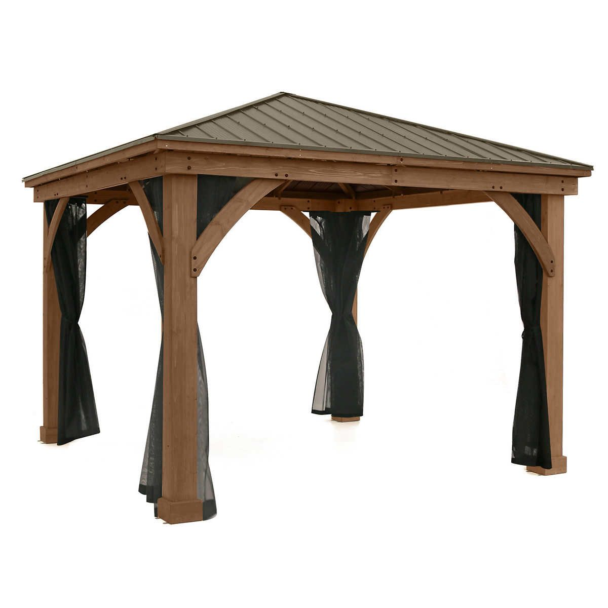 Yardistry Gazebo Mosquito Mesh Kit In 2020 Gazebo Rustic Hot Tubs Aluminum Roof