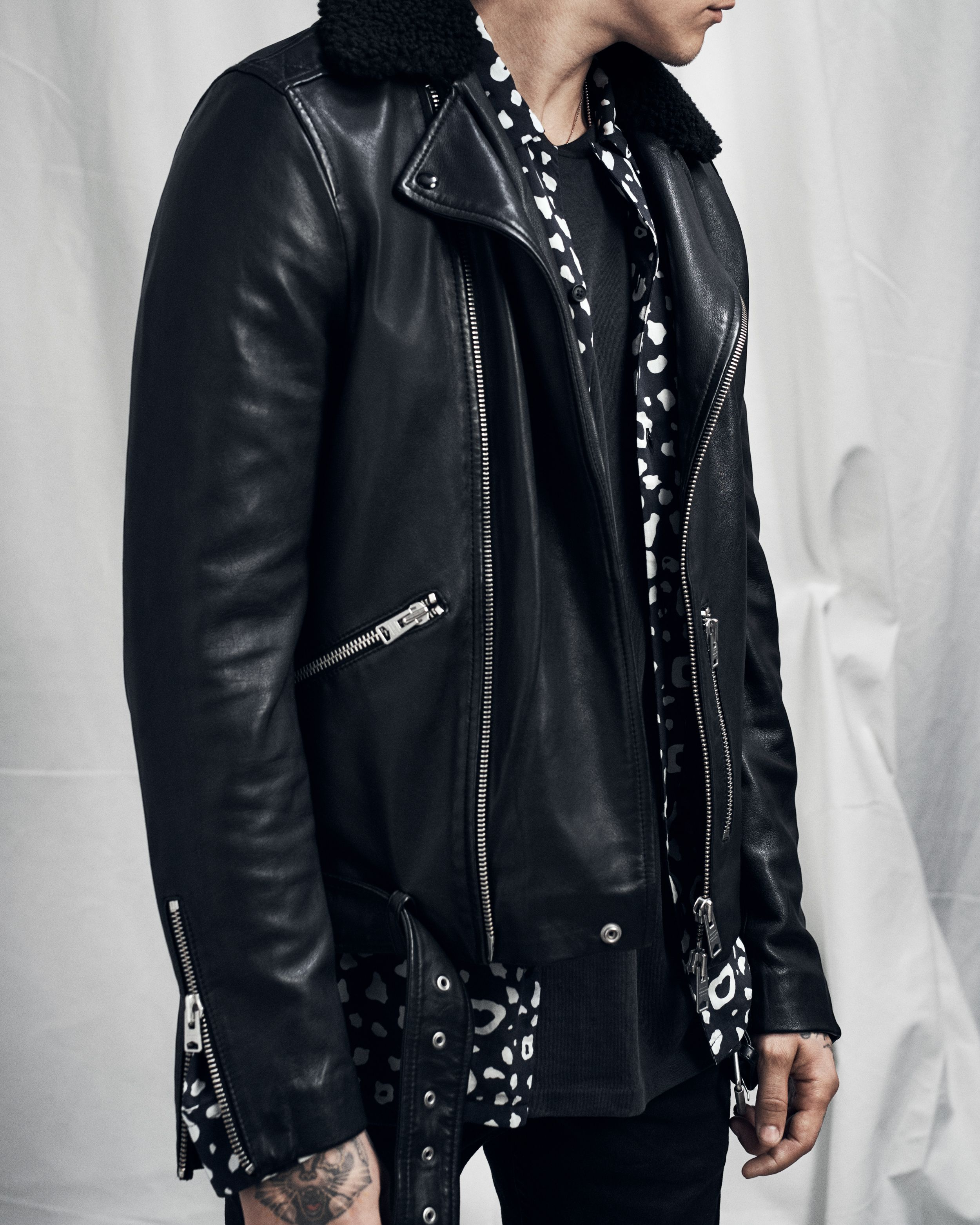 The Hawk Leather Biker Our Classic Biker Jacket Template Has Been Given A Cold Weather Trim With A Shearl Fur Leather Jacket Leather Jacket Leather Jacket Men