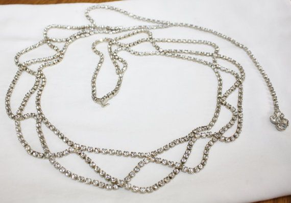 Vintage Rhinestone Swag Belt 1950s Jewelry by patwatty on Etsy, $70.00