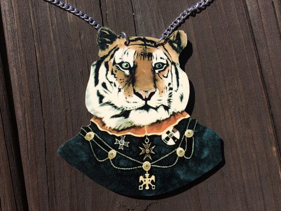Cute Necklace, Tiger Necklace, Funny Necklace, Large Necklace, Silver Chain, Funny Gift, Joke Gift, Silver Necklace, Tiger Pendant