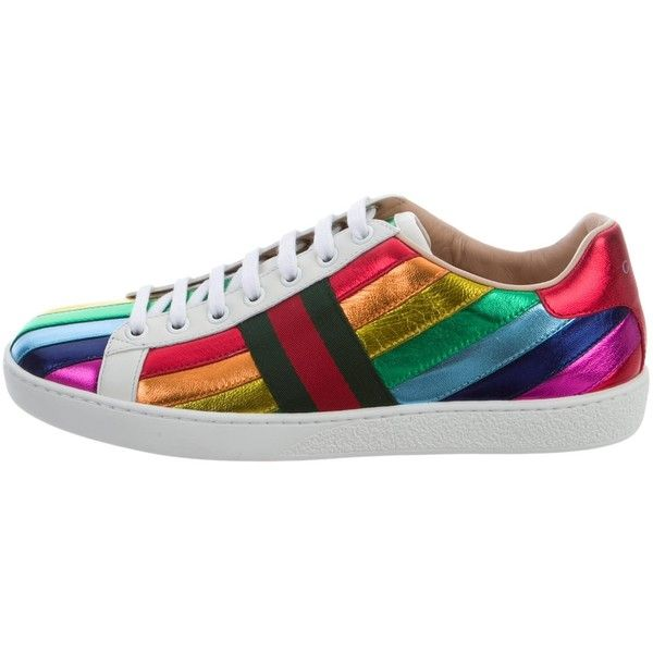 08183df4e6c Pre-owned Gucci 2017 Ace Rainbow Sneakers ( 575) ❤ liked on Polyvore  featuring shoes