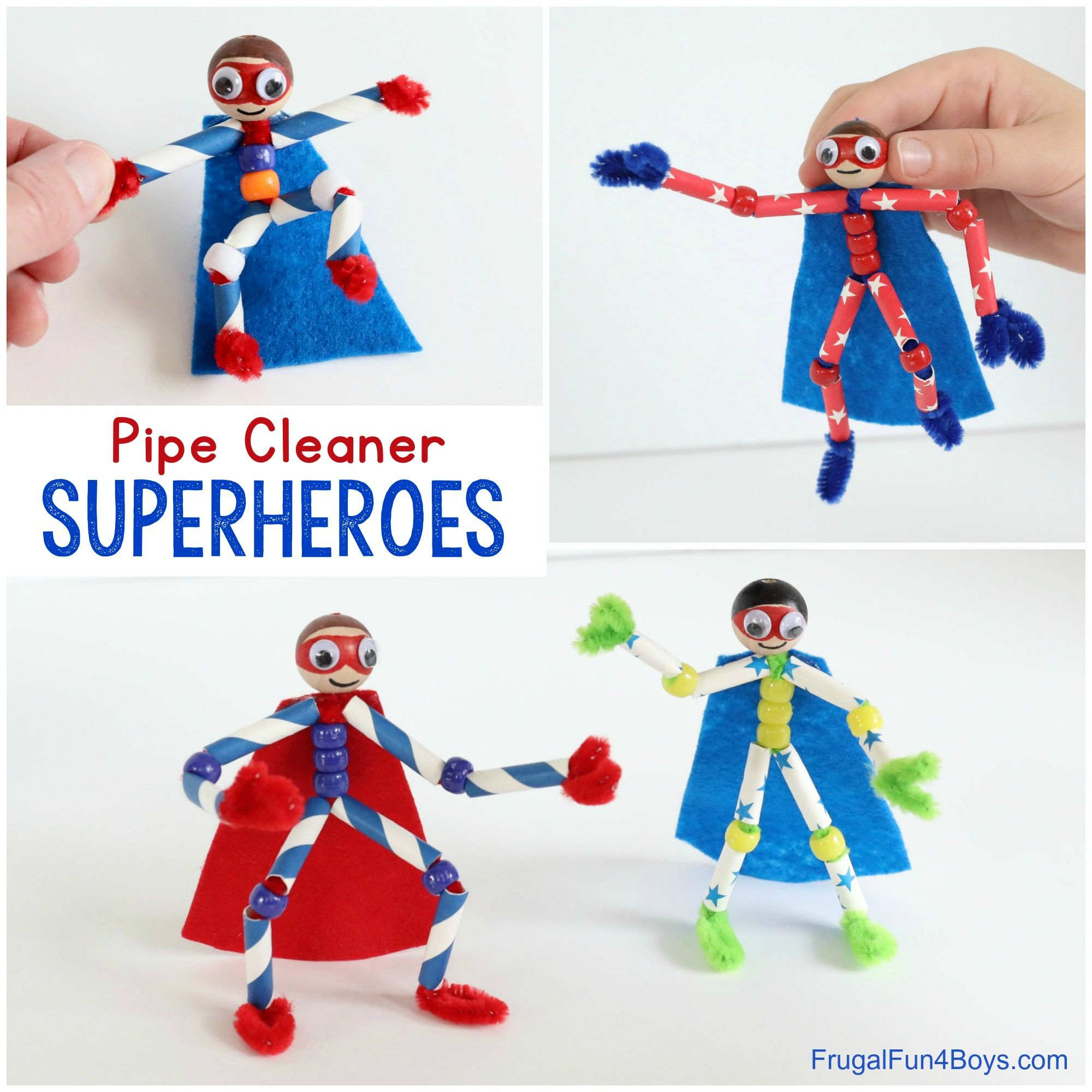 How to Make Pipe Cleaner Superheroes - Frugal Fun For Boys and Girls #superherocrafts