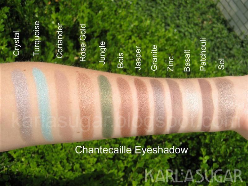 Chantecaille, eyeshadow, swatches, Basalt, Sel, Patchouli, Coriander, Zinc, Granite, Crystal, Turquoise, Rose Gold, Jungle, Bois, Jasper