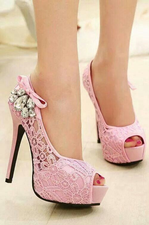 add592309e1 Pink high heel shoes. So Cute!!