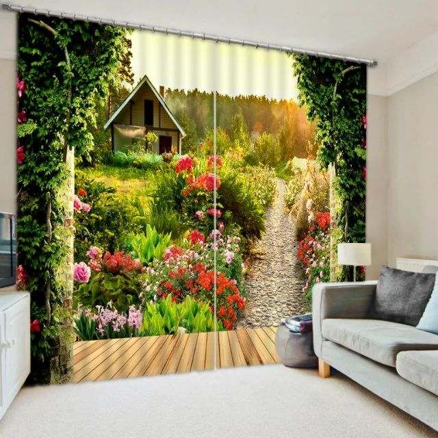 home d cor idea Pastoral Scenery Flowers Print Modern 3D Blackout Curtain  for Bedding room Living room Hotel Office Drape Cortinas Decorative     AliExpress. home d cor idea Pastoral Scenery Flowers Print Modern 3D Blackout