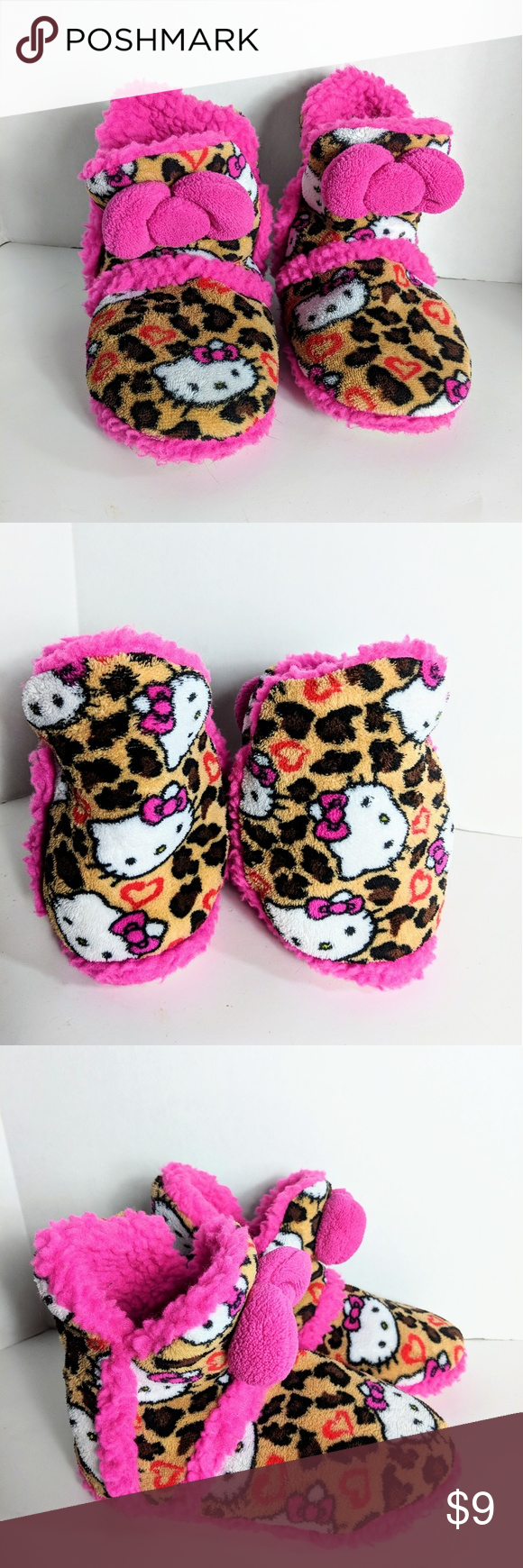 a5ff0caddd01 Girl s Hello Kitty Booties Sleepers 13 1 Girls Hello Kitty leopard and pink  trim bootie slippers size 13 1 in good preowned condition. Hello Kitty Shoes  ...