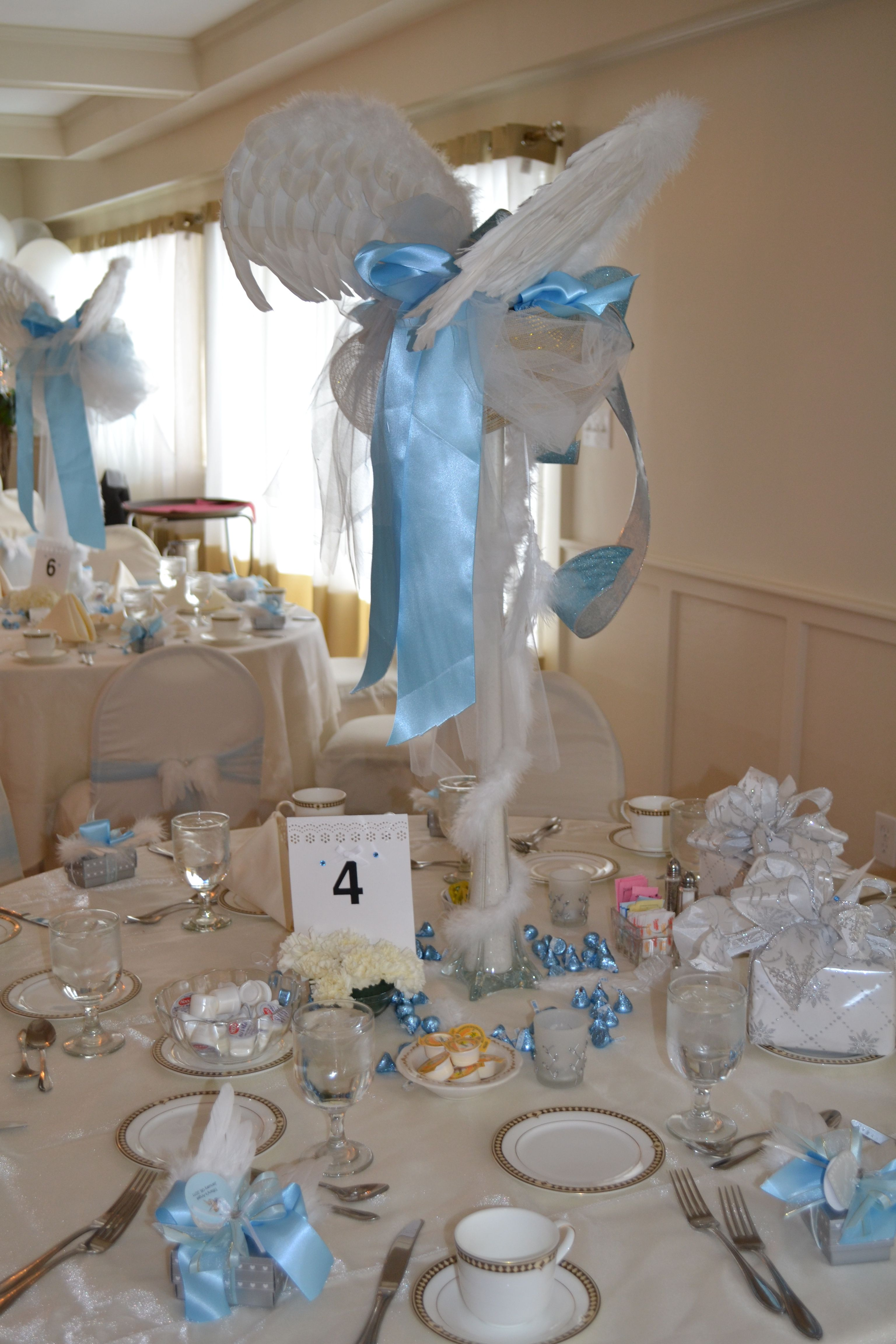 Angel centerpieces thank heaven for little boys baby Baby boy shower centerpieces for tables