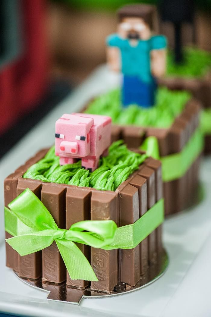 Mini cakes from a Minecraft Birthday Party via Karas Party Ideas